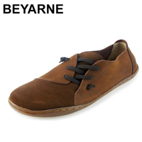BEYARNE Women's Shoes Hand made Slip on Ballet Flats Genuine Leather Ladies Flat Shoes Plain toe Mary Jane Flats Female Footwear