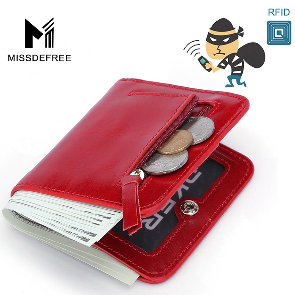 RFID 차단 빈티지 여성 지갑 미니 짧은 동전 지갑 고품질 신용 카드 홀더 정품 가죽 지퍼 작은 지갑