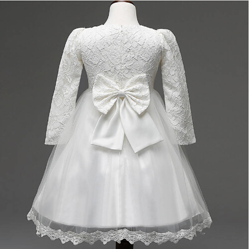 Fashion Kids Wedding Dresses Long Sleeve Lace Princess Party Dress Children Bridesmaids Clothes Pro Gown