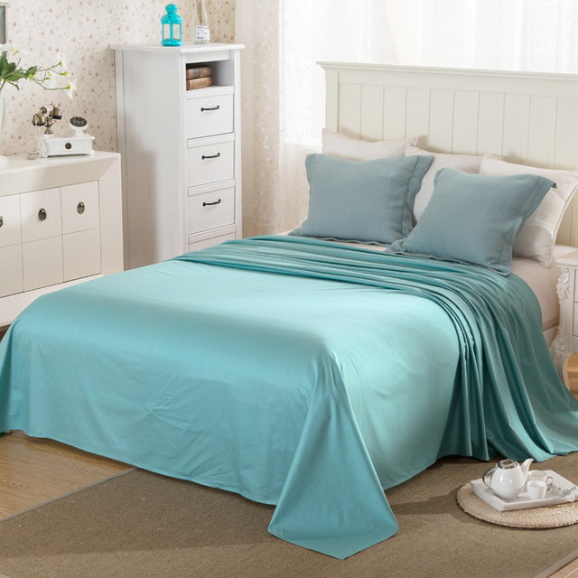 100 Sa Cotton Flat Sheet Soft Solid Design Satin Bed Linen Sheets King Queen Size Bedsheets
