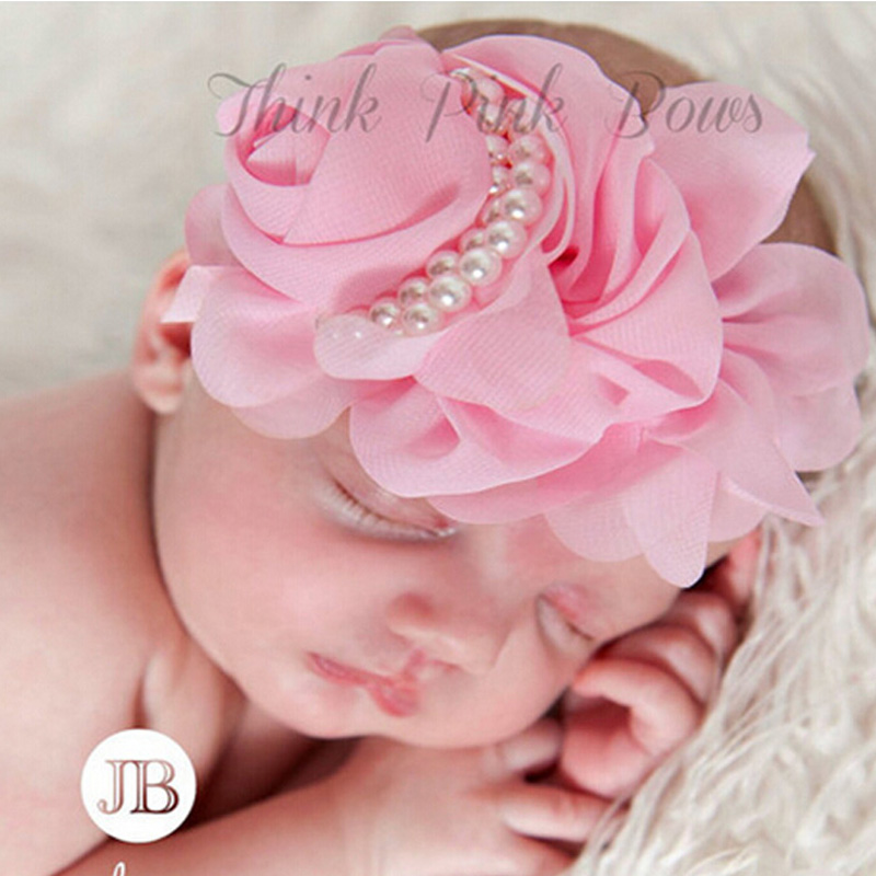 Cute Newborn Flower Headband Pearl Rose Flower Hair Accessories Stretchy HeadwearPhotographic props  w--075 metting joura vintage bohemian ethnic tribal flower print stone handmade elastic headband hair band design hair accessories