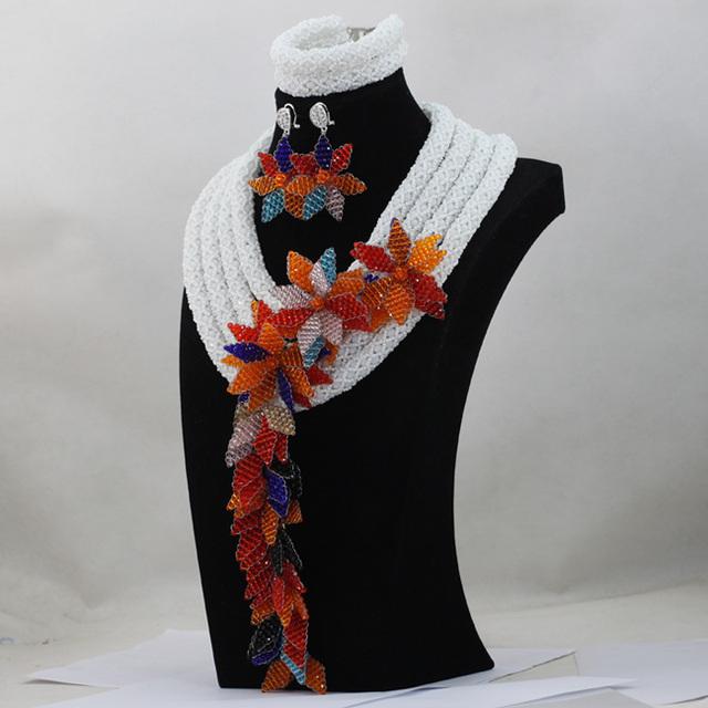 Dubai Elegant White African Women Costume Jewelry Set Arabic Wedding Bridal Birthday Jewelry Set Flower Brooch Free ShipABL829