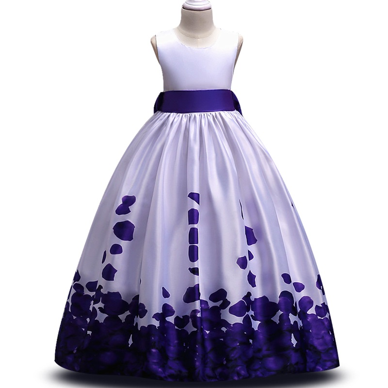 Teens party dress 2018 Kids Girls elegant Wedding Flower Girl Dress Sleeveless Satin Princess Pageant Formal long petal Dress girls short in front long in back purple flower girl dress summer 2017 girl formal dress kids party princess custume skd014283