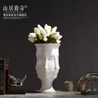 White Vase Ceramic Pot Art People Face Vase Pot Home Decor Crafts Flower Vase