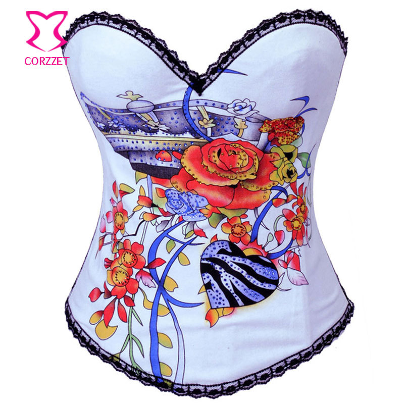 White Cotton with Rhinestone Floral Pattern Bustier Corset Burlesque Costume Corsets and Bustiers Sexy Gothic Korsett For Women
