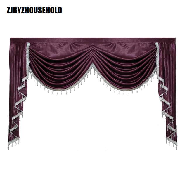 Purple Pure Color Valance Curtains For Living Room Valance Swag Lambrequin  For Dining Room Curtain For
