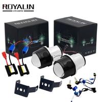 ROYALIN Bi Xenon Fog Light Lens Kit 2.5'' Metal Projector Lens w/ H11 AC HID Kits for Auto Fog Lamp Retrofits Car Styling 5000K