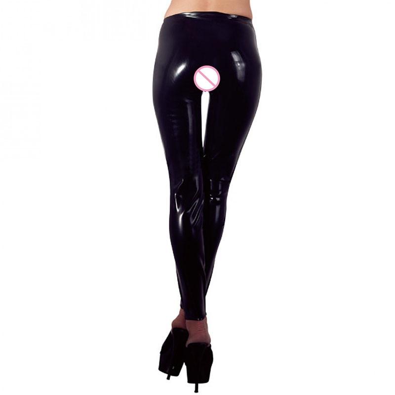 32e290ce9f53f Plus Size XXL Zwart Sexy Vinyl Leggings Bandage Novelty Exotische kleding  Vrouwen Kunstleer Legging Open Kruis Fetish Broek in Plus Size XXL Zwart  Sexy ...