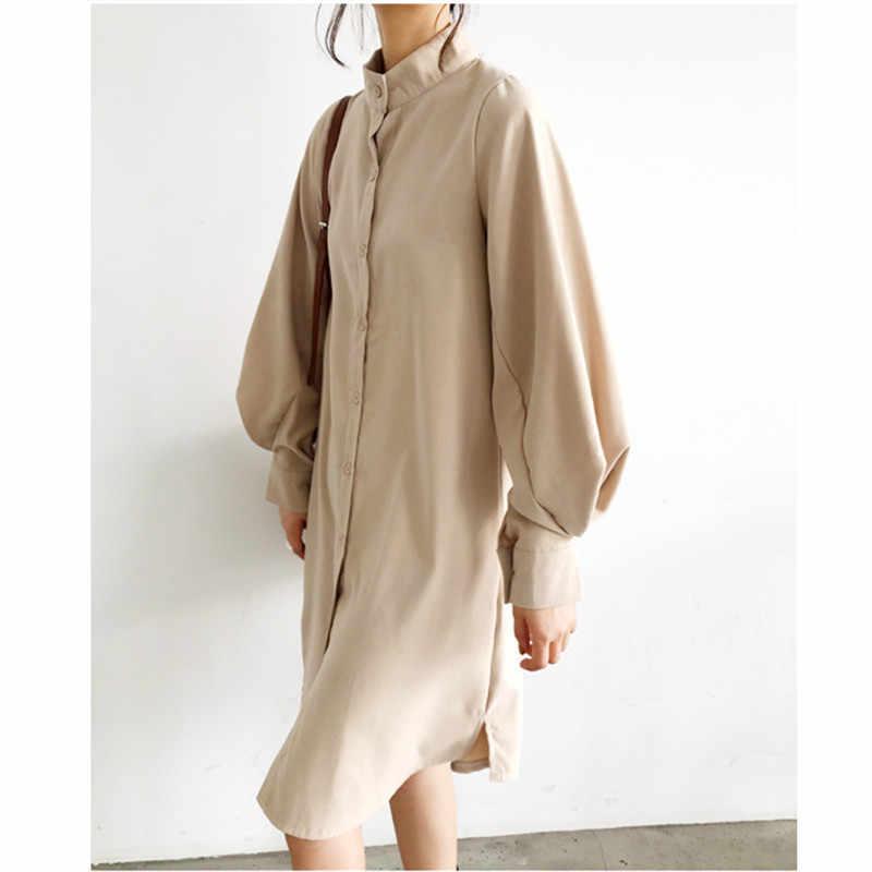 長袖ロング春カジュアルパッチワーク白青茶ドレス襟ボタンドレスローブファム Vestido