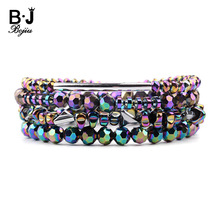 BOJIU 4 Pcs/Set Bohemian Elastic Colorful Hematite Crystal Bracelets Women Handmade Silver Copper Tube Beaded Bracelet BCSET229
