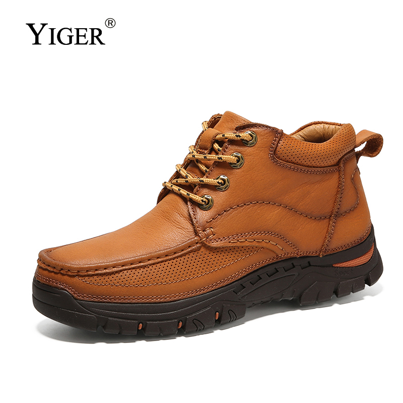 YIGER NEW Men Cotton shoes Winter Genuine Leather Lace up Man Casual Boots tooling shoes Male