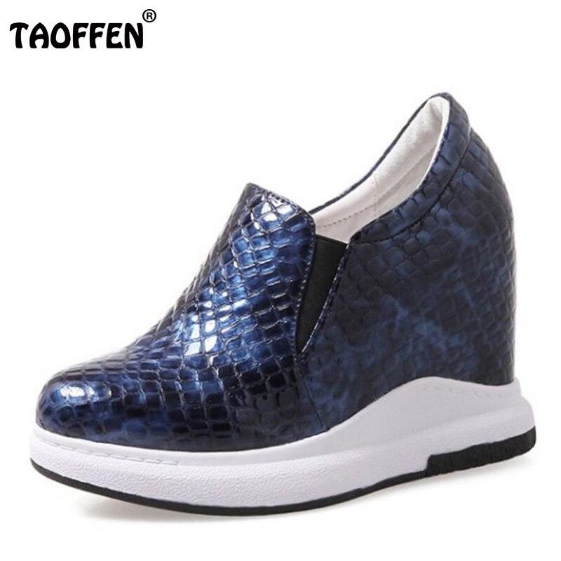 TAOFFEN Sexy Women'S Genuine Leather High Wedges Shoes Women Inside Heel Women Wedges Pumps Vintage Women Footwears Size 31-40