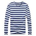 Мода Майка для Мужчин Новый 2016 Бренд Trend Полосатый Т рубашки O Шеи Длинным Рукавом Темно-Синий Костюм Мужская Tee Shirt Топы 3XL 4XL