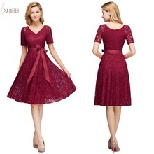 Sexy Elegant Burgundy V Neck Lace Short Bridesmaid Dress 2019 A line Wedding Party Gown In Stock