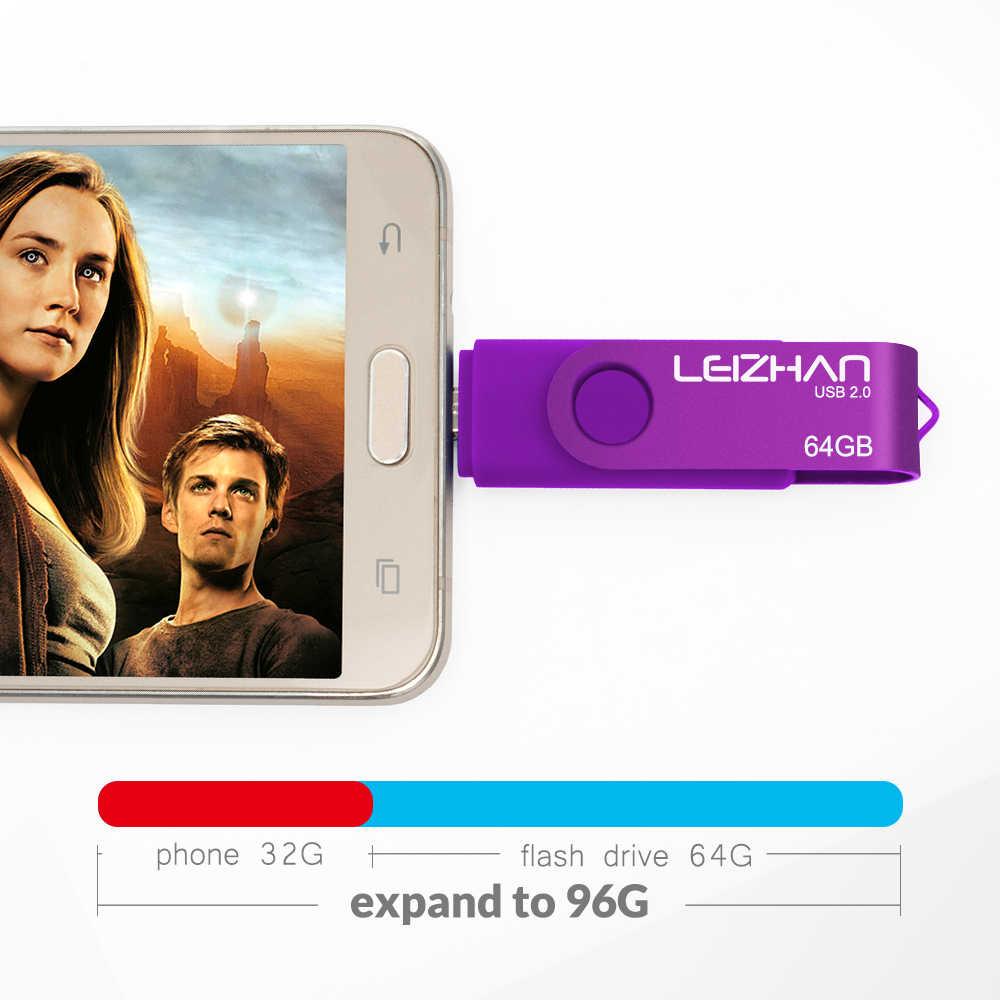 LEIZHAN Adnroid Phone Stick USB Flash Drive 128GB 64GB 32GB 16GB 8GB 4GB Pendrive USB Memory Stick for Samsung/Xiaomi/Meizu/HTC