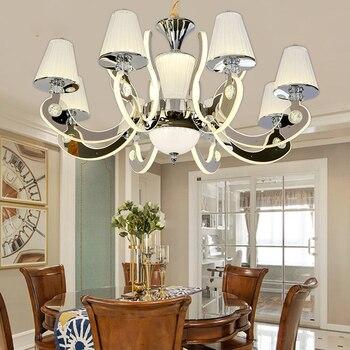Simples moderna sala de estar restaurante lustre de cristal Europeu lâmpada de aço inoxidável LEVOU