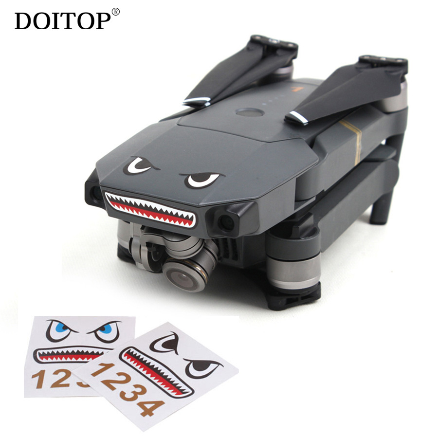 DOITOP 2 Sets Camera Drone Body Skin Cool Shark Face 3M Stickers Decals With Battery Number Sticker For DJI MAVIC PRO / Spark