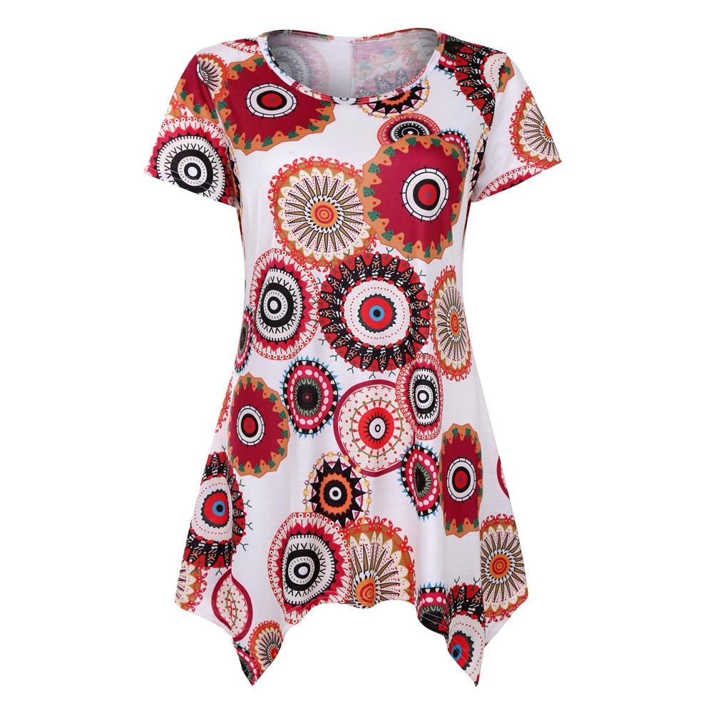 JAYCOSIN blusas Swing Tunic Summer Floral Flare Tee women's   shirt   Short Sleeve Top   Blouse     Shirt   apr2