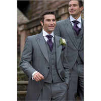Custom Made Light Mohair Grey Tailcoat Formal Groom mens suit Wear One Button gray Wedding Suits for men 2018(Jacket+Pants+Vest)