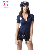 Blue Short Sleeve Front Zipper Carnaval Cop Dress Cosplay Police Sexy Costume Halloween Costumes For Women