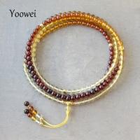 Yoowei 83 سنتيمتر العنبر الأساور للتأمل واليوغا حبات صغيرة 216 الصلاة بوذا بسوء جولة العنبر قلادة المجوهرات بالجملة