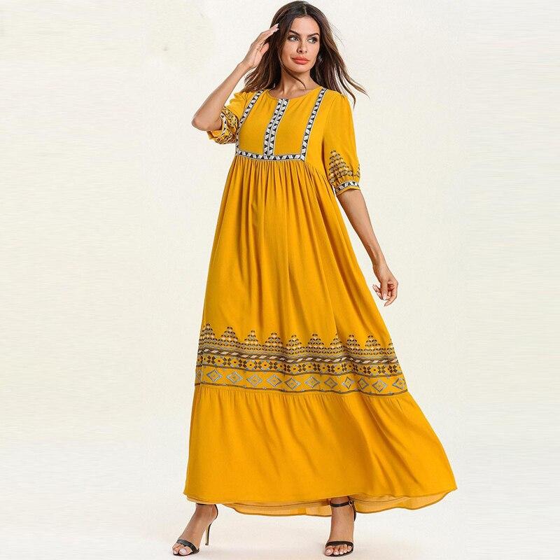 Robes Compridos Ramadan Abaya Femme Kaftan Dubaï Islamique Arabe Musulman Maxi Robe Caftan Marocain Elbise Robe Longue Boheme