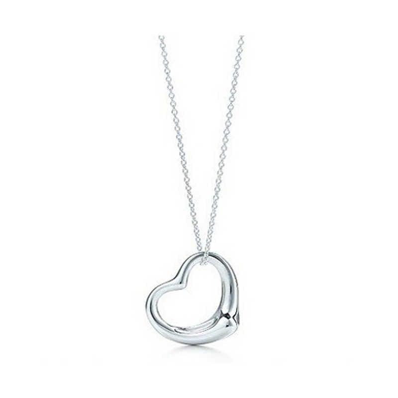 2019 جديد شعبي حار بيجو التصميم الأصلي الفضة اللون أنيقة القلب قلادة القلائد للنساء مجوهرات