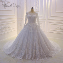 Amanda Chen Design O-neck Long Sleeve Wedding Dress
