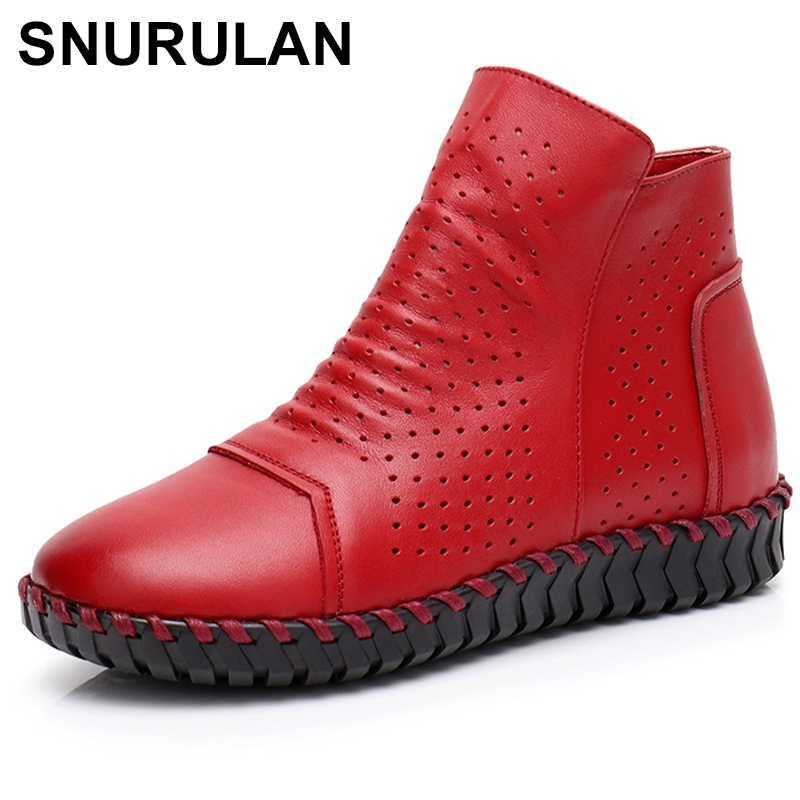 SNURULAN Women Boots Genuine Leather Ankle Boots Hollow Summer Boots Chaussures Femme Comfortable Flat Women Shoes