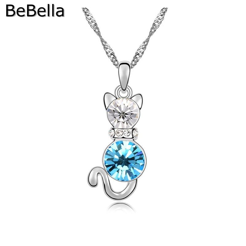 BeBella кристалл кошка кулон ожерелье сделано с чешским кристаллом для женщин подарок - Окраска металла: Aquamarine