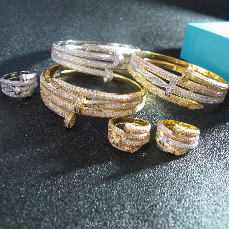 cubic zirconia jewelry sets bangles and rings for women or men