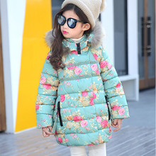 High Quality Fashion Girls Winter Coat Hooded Zipper Flowers Cotton Baby Winter Girl Jacket 2015 Hot Sale