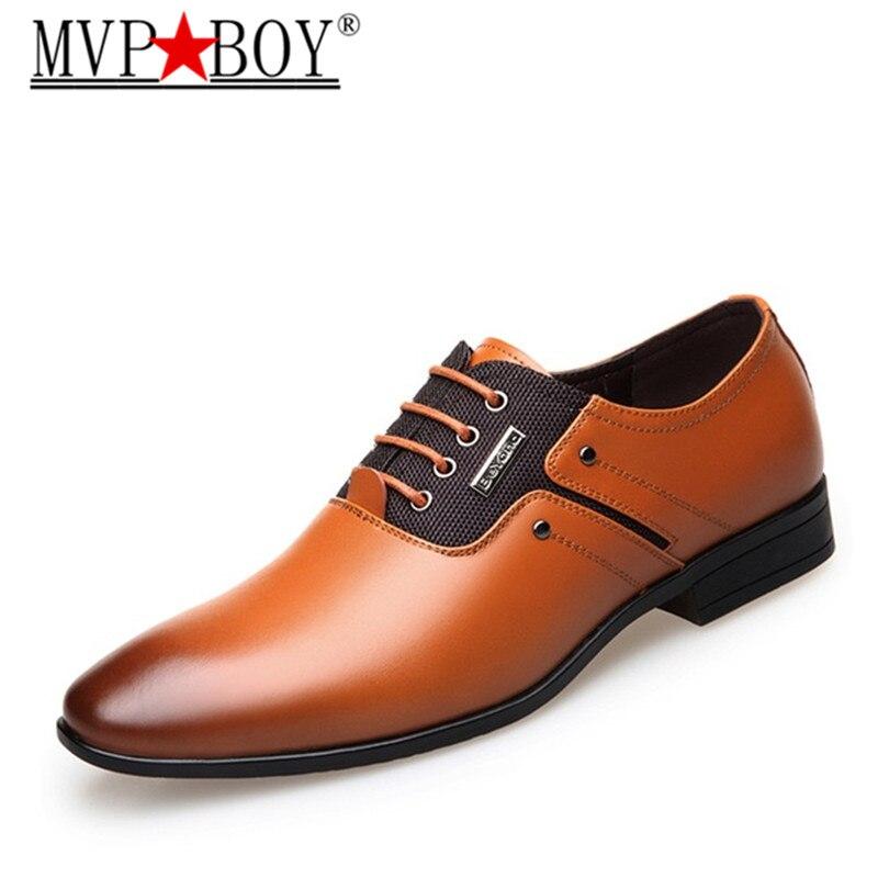 MVP BOY Big Size Men Dress Shoes Quality Men Formal Shoes Lace up Men Business Oxford
