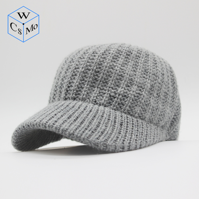f5540e2b5a4 W 2018 new unisex baseball cap cashmere blended knit cap ladies personality  hat autumn and winter warm hat elastic men hat