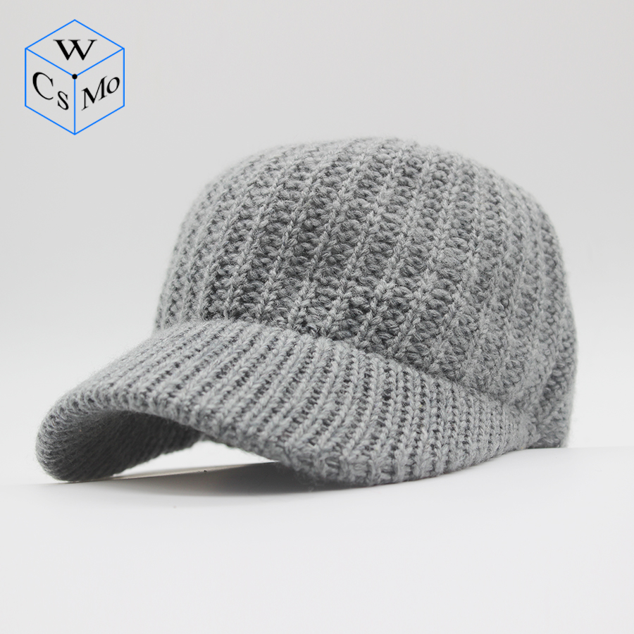 CoMs.W 2019 new unisex   baseball     cap   cashmere blended knit   cap   ladies personality hat autumn and winter warm hat elastic men hat