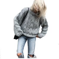 2018 Spring New Stylishy Sweater Pullovers For Women Mohair Knitted Thickened Tops Female Knitwear Tunic Fashion
