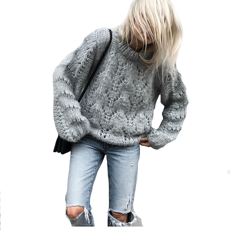 2018 Spring New Stylishy Sweater Pullovers for Women Mohair Knitted Thickened Tops Female Knitwear Tunic Fashion Outwear