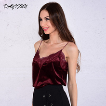 DAYIFUN 2019 Sexy Fashion Tops Women Strappy Sexy Lace Tops Burgundy Contrast Lace Trim Velvet Sleeveless Cami Top Camisole 6152