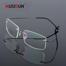 цена на Optical Glasses Frame Man woman Titanium Alloy Rimless Eyeglasses Frame Flexible Myopia Prescription Spectacle Frameless Q863
