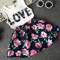 summer new 2PCS fishon kids clothes love flowers  Baby toddler girl clothing  T-shirt Tank Tops and Skirt  Set Outfits Clothes