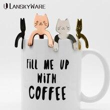 LANSKYWARE 1Pcs Stainless Steel Cartoon Cute Cat Spoon Creative Milk Coffee& Tea Ice Cream Candy Teaspoon Accessories