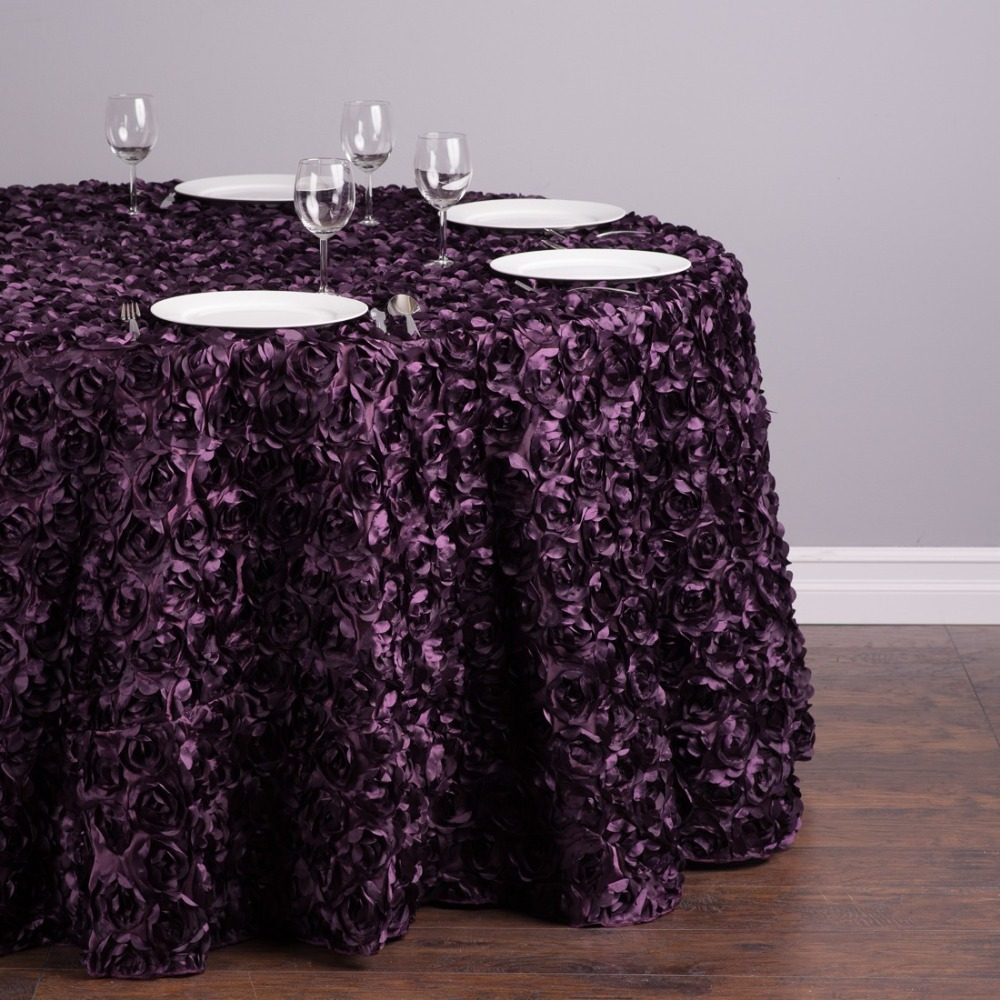 Polyester 300cm Round Rosette Satin Feel Tablecloth Eggplant For Ceremony  Wedding Event Banquet Party, 20/Pack