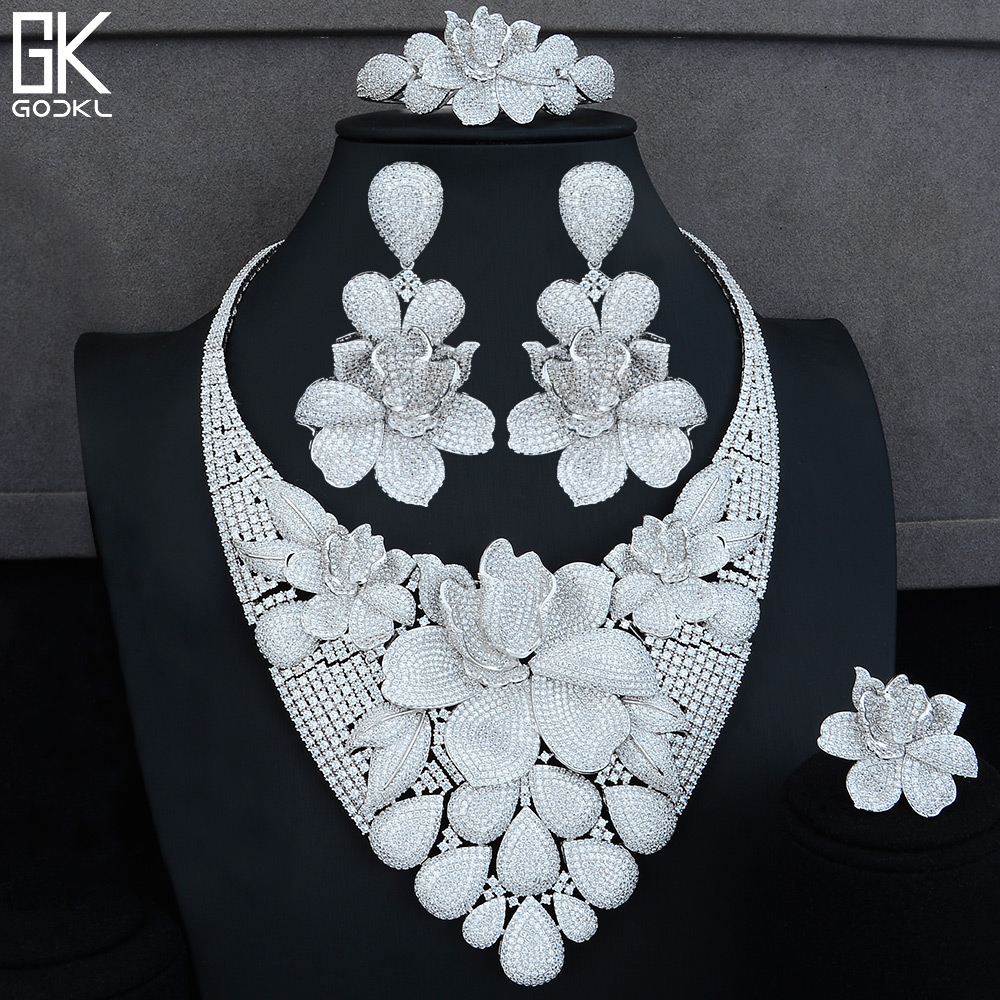 GODKI Luxury Floral 4PCS African Jewelry Sets For Women Wedding Cubic Zircon Crystal CZ Indian Dubai Silver Bridal Jewelry Sets