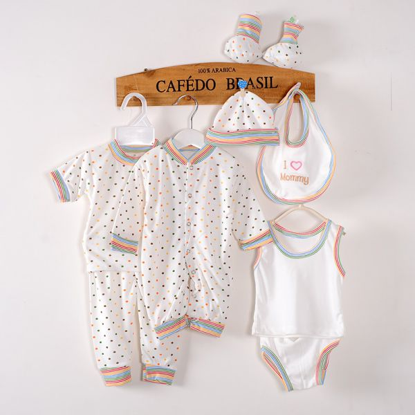 Spring Newborn Clothing Set Cotton Baby Striped Jumper+Hats+Socks+Bib+Tops+Pants Outfits 0-3M