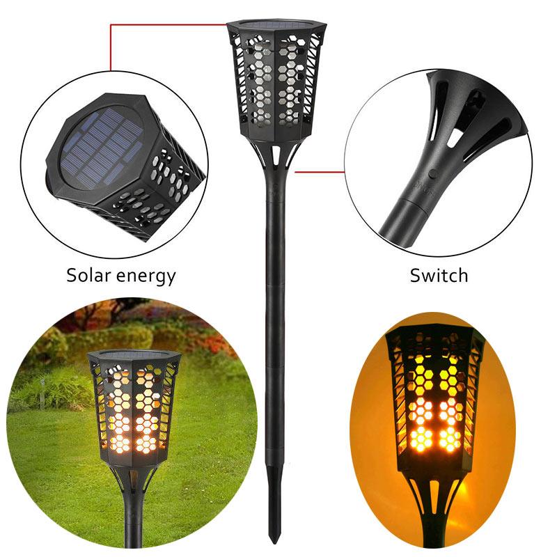 96 LED Solar Power Spot Light Waterproof Flicker Flame Lamps Landscape Outdoor Grounding Decor CLH@8