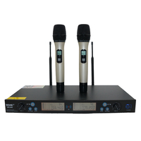 K300 WIRELESS Microphone Metal construction PRO Karaoke UHF Dual 2 Channel LED System with 2 MIC Fixed Frequency