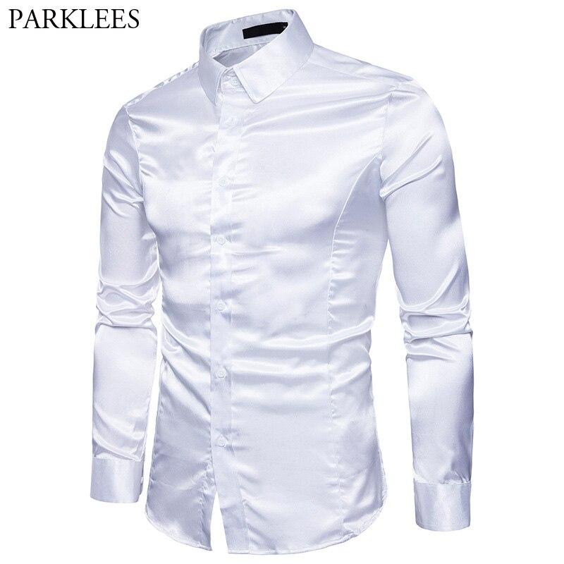 Men's Slim Fit Silk Like Satin Dress Shirt Long Sleeve Emulation Silk Button Down Shirt Men Dance Prom Club Wedding Shirt Male