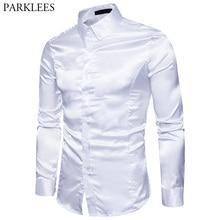 Dress Shirt Satin Long-Sleeve Emulation Silk-Button Prom-Club Slim-Fit Male Men Like