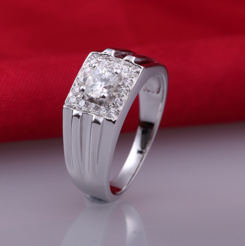 0.5 carat 925 sterling silver men's man made diamond wedding ring for male US size from 5 to 13 (DFE)