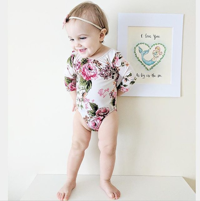 Newborn Infant Baby Girls Clothes Lace Ruffles Floral Long Sleeve Bodysuit Baby Girl Jumpsuit Sunsuit Outfits Baby Onesie 0-18M